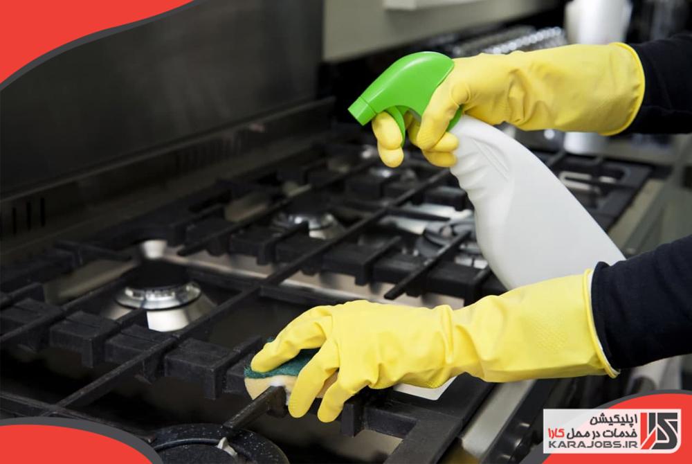 خانه تکانی آشپزخانه - تمیز کردن اجاق گاز
